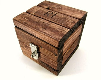 Made To Order Engraved Jewelry Gift Box - Rustic Wood Burned Box - Personalized Wedding Anniversary Gift - Miniature Cube for Small Storage