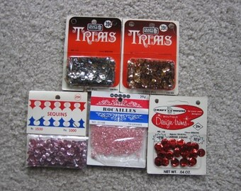 Vintage Sequins and Beads Lot of 5 Packages     FREE SHIPPING
