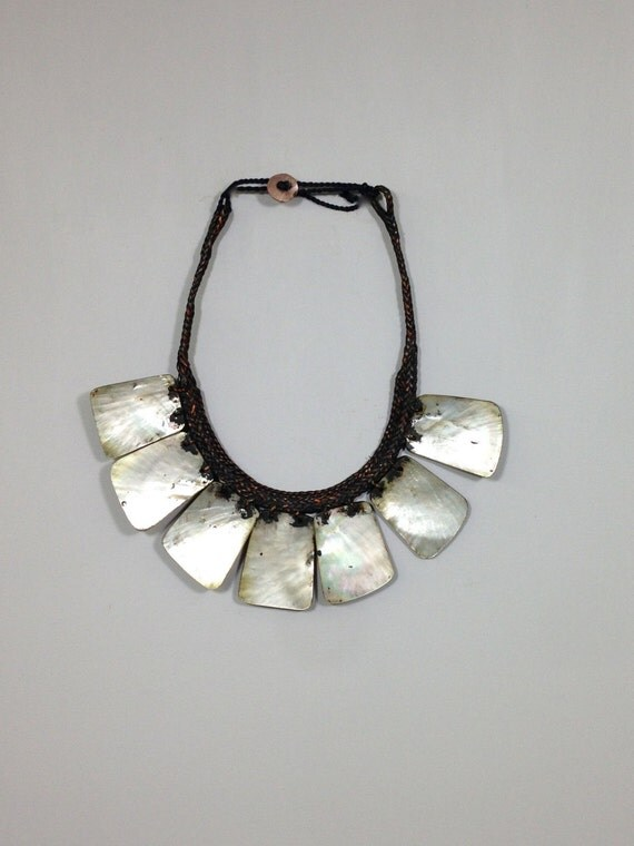 Philippine Ifugao Tribal Shell Necklace Rattan Handmade Tribal Jewelry Necklace Unique Women Shell Status