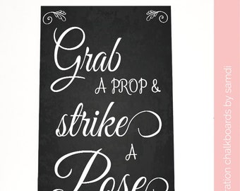 Grab a prop and strike a pose Wedding sign/ Photo booth/ wedding chalkboard/ chalkboard sign/ home decor/ Samdi(3)