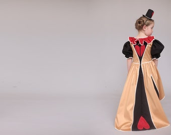Halloween Queen of hearts costume,  Halloween costume for girls, halloween dress , handmade costume,  Halloween costume children girl
