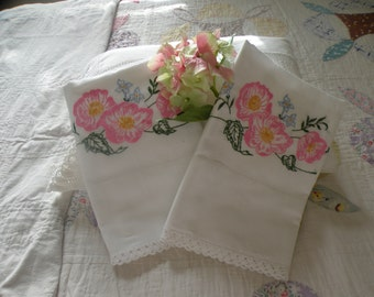 Charming Summer Cottage Antique Pair of Pillowcases