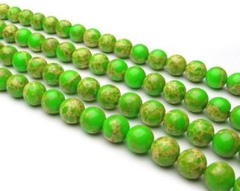 DIY Handmade Apple Green Buddha  Loose Beads 39 cm string (Bead Size: 6mm,10mm)-WEN38022367381-MAD
