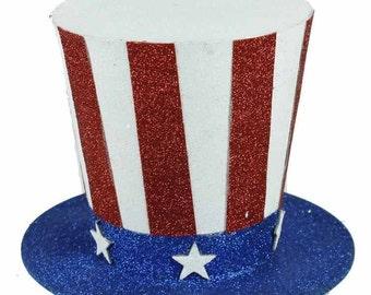 "6"" Patriotic Top Hat, Red White Blue Hat, Glitter Top Hat, Wreath Decor - HJ0013"