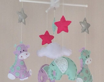Baby Mobile - Elephant and Giraffe Mobile - Cot Mobile - Baby boy Mobile - Nursery Decor - Pastel Decor - lilac, mint green and silver