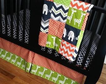 Custom Crib Bedding Set, Made to Order, Orange, lime green, navy, crib skirt, sheet, baby blanket