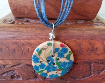 Blue Floral Printed, Wooden Button Necklace, Button Pendant, Colourful Necklace, Button Charm, Button Jewellery
