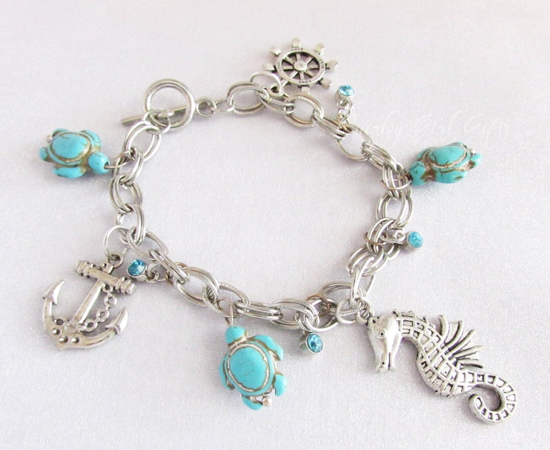 nautical charm bracelet seahorse anchor sea turtle ship