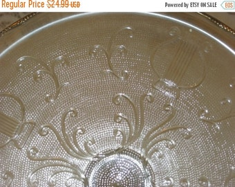 Vintage Glass Cake Stand, Old Cake Plate, Jeannette Glass Harp Plate, Circa 1950s