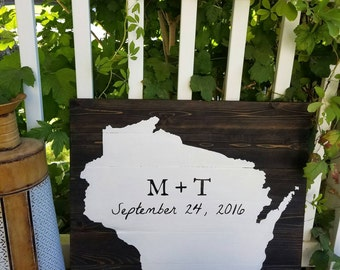 24x24 Wood State Wedding Guestbook -Hand Painted, Wall Art