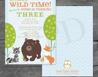 Woodland Animal Birthday Invitation, Woodland Animals Birthday Invitation, Child's 1st Birthday Invitation, Boy or Girl Invite, Baby Shower