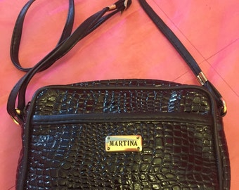 Vintage black faux snakeskin mini handbag. Birthday present, prop / photoshoot / festival accessory.