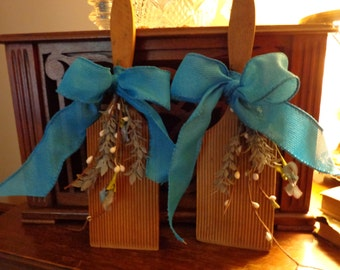 Sale!  A Pair of Antique/Vintage Grooved Butter Paddles Embellished with Flowers and a Turquoise Bow, Primitive, Home Decor, Farmhouse