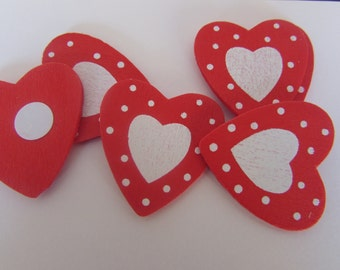 Red and White Wooden Heart Stickers