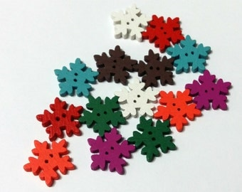 14 Wooden Snowflakes Muili Color 18mm x 18mm - #C00066