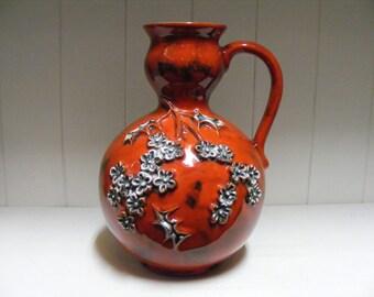Red Walter Gerhards Keramik Fat Lava Vase