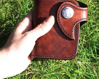 Handmade Leather Wallet - Bison brown
