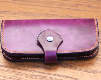 Handmade Long Leather wallet - Purple Leather