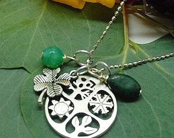 Four Seasons Malachite, Dyed Green Jade and Lucky Clover Pendant