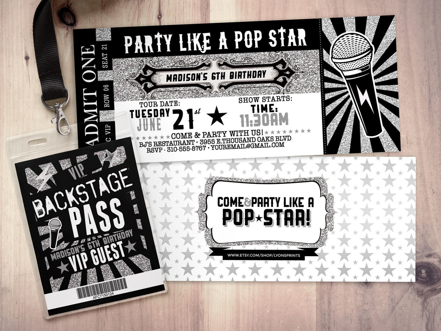 ROCK STAR Concert Ticket Birthday Party Invitation  Music Invitation   Printable, Rockstar Party, Pop Star, Animal Print, 80u0027s, Invite,retro  Concert Ticket Birthday Invitations