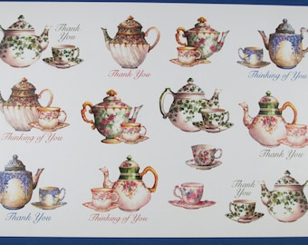 "Large Sheet Stickers Teapots, Teacups, Thank You, Thinking Of You  for Scrapbooking or Collecting 9""X 5-3/4"" New"