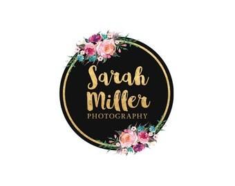 Photography logo floral logo watercolour logo gold logo premade logo design business logo