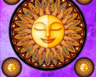 """Sun Sticker Celestial Decal by Dan Morris """"Bhakti: Love and Devotion"""",perfect for any indoor outdoor use,sticker RV, Car,Cooler, ©Dan Morris"""