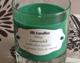Birthstone candles - May. Part of our new range with a candle for each month.