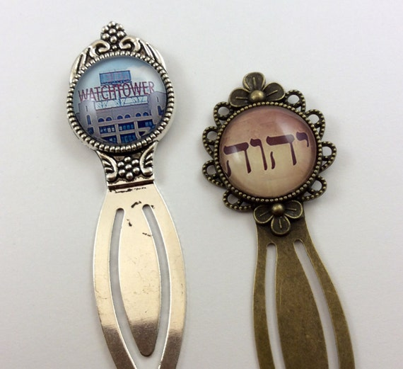 JW Bookmark in Antique Brass or Silver tone finish.  20mm  Glass insert in Blue JW.Org, Watchtower Sign or Pioneer School