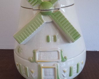 Vintage Fapco Dutch Windmill green accent cookie jar