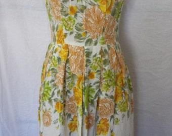 Vintage 1950's Box Pleat A Line Darling Dress Sundress tea party  misses sz XS - S  2