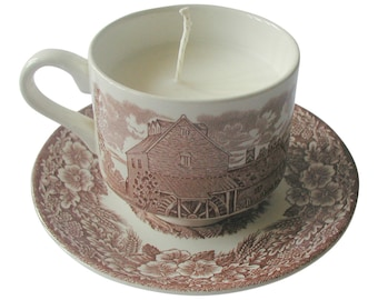 English Country Scene Pottery Teacup Candle Hand Poured Eco Soya Wax