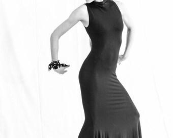 black spandex flamenco dress