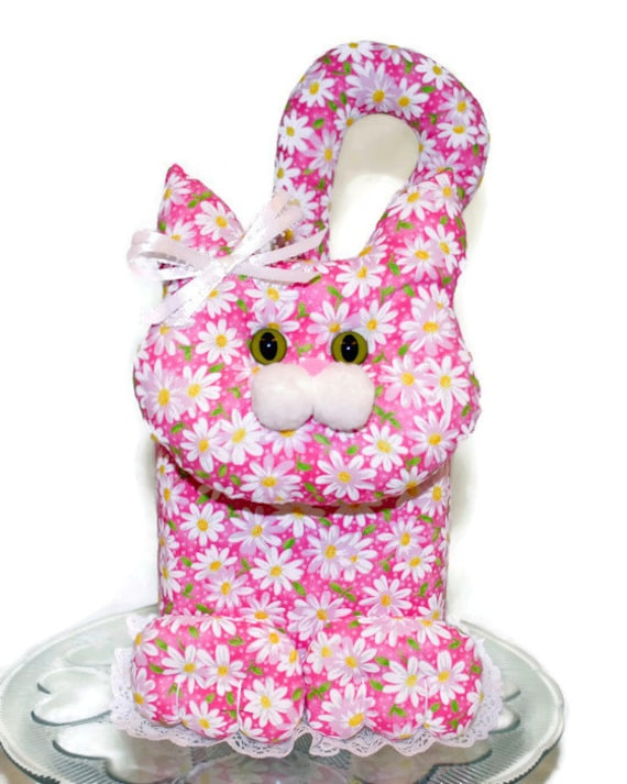 Handmade kitty cat fabric tissue box cover bright pink by dollyds - Nose tissue dispenser ...