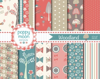 Woodland,polka dot,stripe,toadstools,flowers,red brown,cream and teal backgrounds, printable digital paper pack