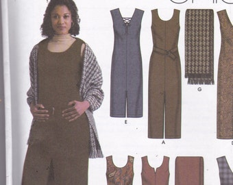Simplicity 5449 Vintage Pattern Womens Dress or Jumper in Variations, Belt and Shawl  Size 14,16,18,20,22 UNCUT