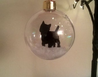 West Highland Terrier Silhouette in the Snow  Pet Bauble ~ can be Personalised