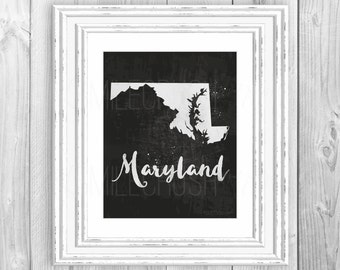 Maryland State Decor Maryland State Map Print Maryland Print Maryland Map Print Black and White Watercolor Map Print Maryland Decor Home Art