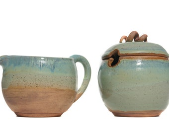 MADE TO ORDER Hand Thrown on Wheel Stoneware Pottery Creamer and Sugar Bowl Set