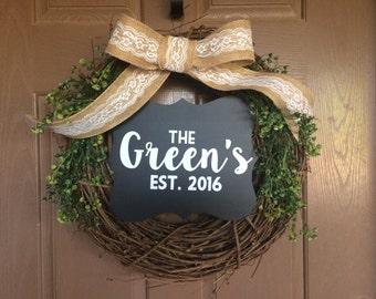 Custom Handmade Wreath Family Name Chalkboard Grapevine Ivy Bow