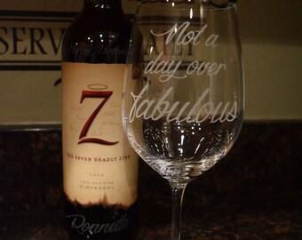 Wine glass custom etched