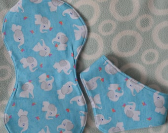 Burp cloth and bib set, Baby gift set, Baby burp cloth, baby bandana dribble bib, baby shower gift, blue elephant fabric,