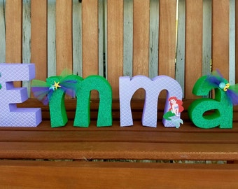 The little mermaid wood name letters - Disney theme - Ariel - disney decor - wood letters - wood name letters - PRICE PER LETTER