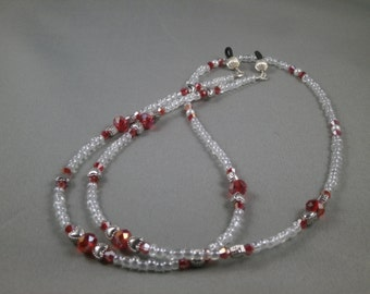 """Unique eyeglasses or sunglasses holder lanyard necklace with bead chain 28"""" to 32"""" long beaded glasses leash strap ,red Crystal beads , cute"""