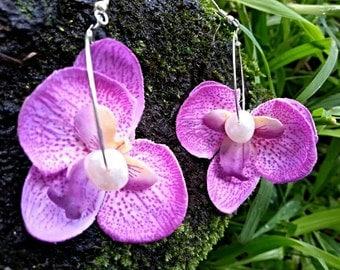 Orchid flower earrings-flower earnings- silk flower earrings-beach wedding-beach earrings-silk orchid flower earrings- hawaiian earrings