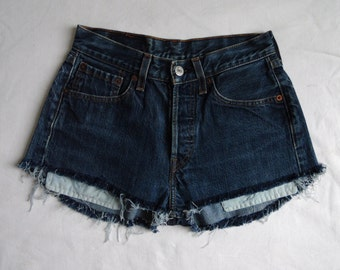 High waisted shorts, vintage Levis 501 blue denim jean shorts, pockets out, cut off frayed hotpants, waist 24, x small