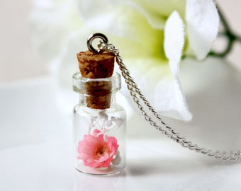 Bottle / necklace / pink / Japanese Style, Natural Dried Flower, Cherry Blossoms, gift for her, Real Flower Necklace, Terrarium Necklace
