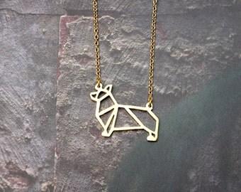 Corgi Necklace, Dog Necklace, Origami Necklace, Corgi Jewelry, Dog breeds, Pet jewelry, Dog Lover, Birthday gifts, Gift under 20