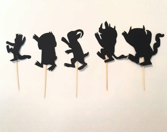 Where the Wild Things Are black brown or white silhouette cupcake toppers 6 or 12