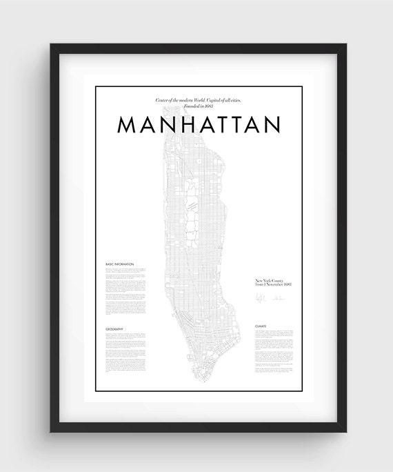 minimal manhattan map poster black white minimal print. Black Bedroom Furniture Sets. Home Design Ideas